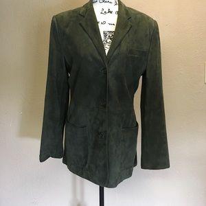 Lauren Ralph Lauren dark olive green suede blazer